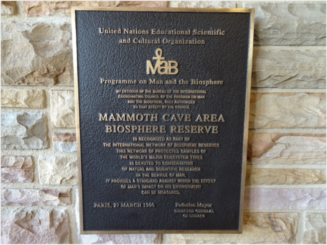 Mammoth Cave Area Biosphere Reserve dedication plaque (1990) from the UNESCO Man and the Biosphere Program at the National Park Visitor Center
