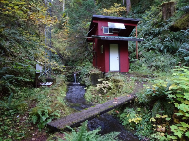 Stream-gauging station at Watershed #2, an old-growth reference control watershed, 7 October 2019